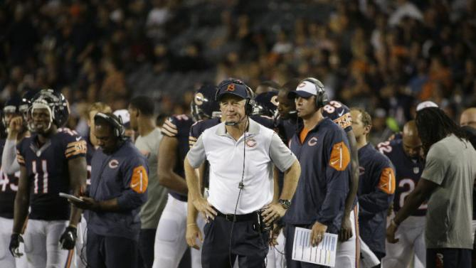 Chicago Bears head coach John Fox watches from the sideline during the second half of an NFL preseason football game against the Cleveland Browns, Thursday, Sept. 3, 2015, in Chicago. (AP Photo/Nam Y. Huh)