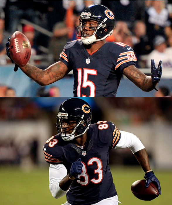 Former Bears wide receiver Brandon Marshall (top) and Bears tight end (for now) Martellus Bennett (bottom)
